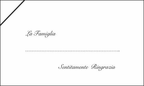 Biglietto di esempio per dei ringraziamenti per un funerale